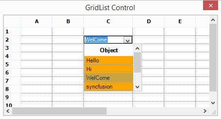 GridListControl cell in a grid control