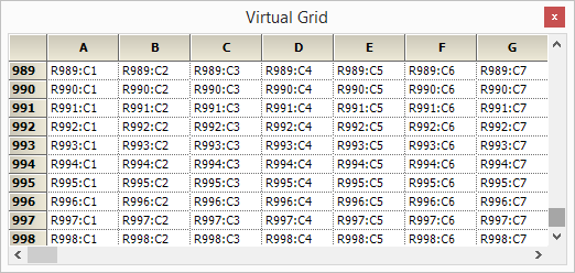 Virtual grid in GridControl