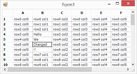 Virtual grid with changed cells