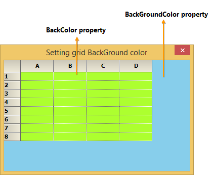 Set the background color to GridControl