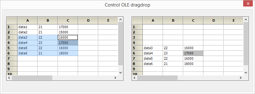 Drag and drop data from one grid to another