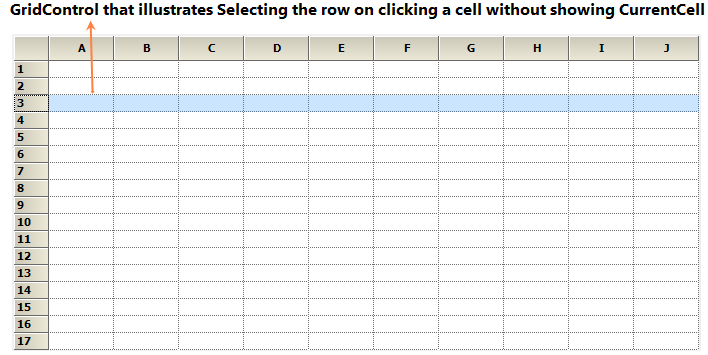 Selecting the row on clicking a cell without showing current cell