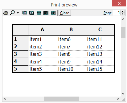 Print preview window is opened