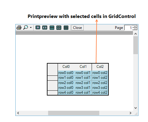 Printpreview with selected cells in grid control