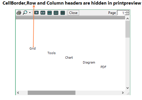 Showing cellborder, row and column headers are hidden in printpreview
