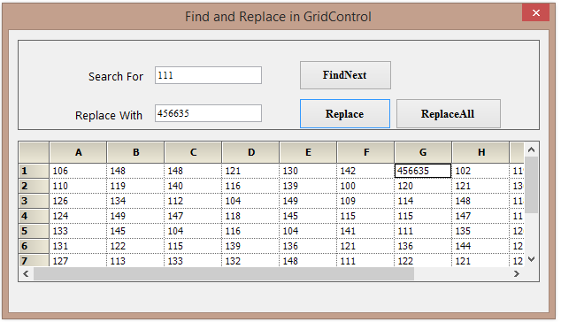 Find and replace the value in grid
