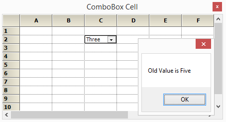 Displaying the old value of the combobox cell