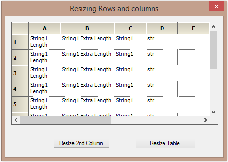 Resizing the rows and column width