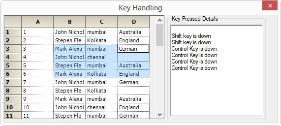 GridControl with shift and control keys