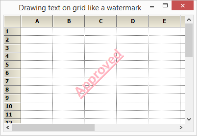 Drawing text on grid like a watermark
