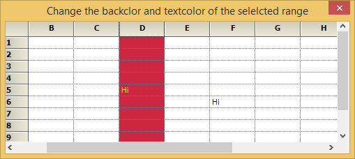 Change the backcolor and textcolor of selected range