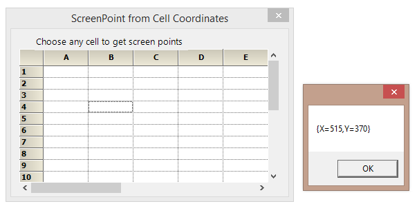 Screen point for a particular cell in the GridControl
