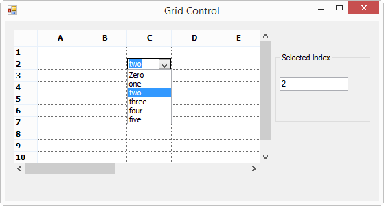 Showing GridControl with ComboBox
