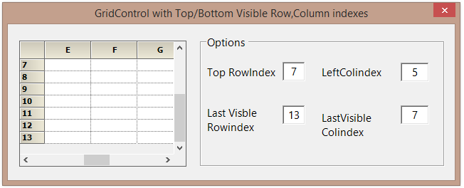 Visible row and column index of the GridControl
