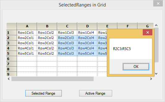 Show the selected ranges in the grid