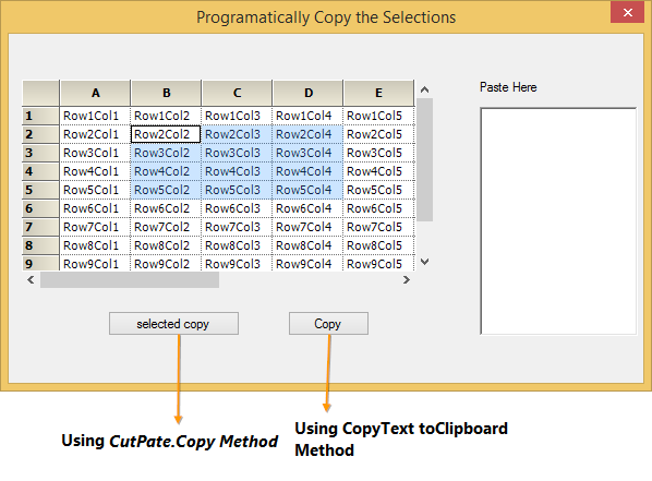 Copy the selection to clipboard