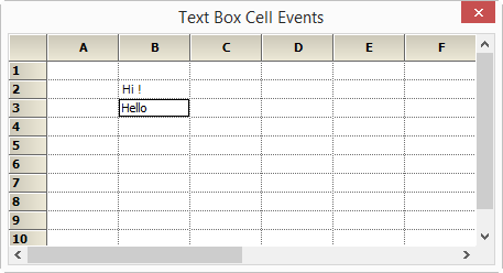 Textbox cell event trace in grid control