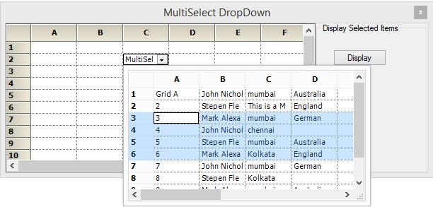 Multi-select dropdown in grid control