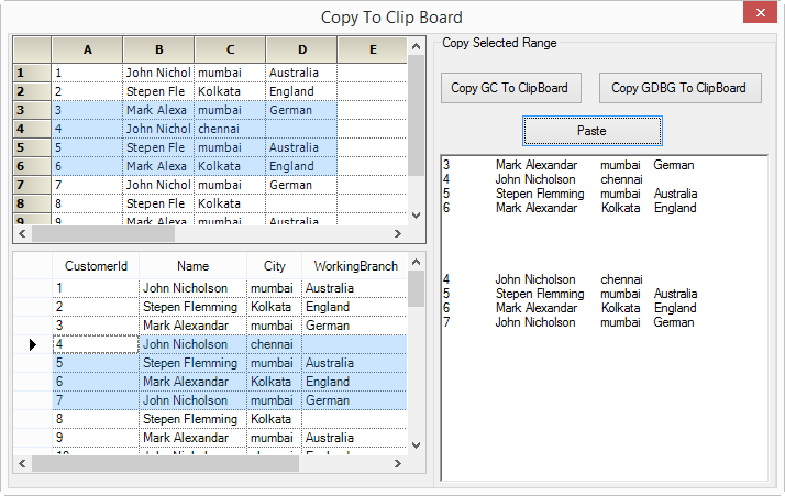 Copy the selected range of cells