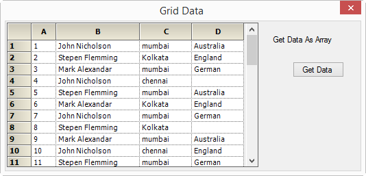 Showing grid data in Grid