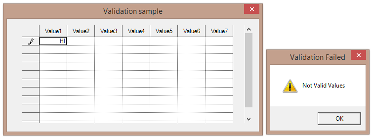 Entered invalid values in a cell