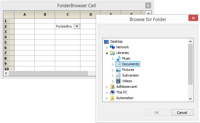 Folderbrowser cell in GridControl