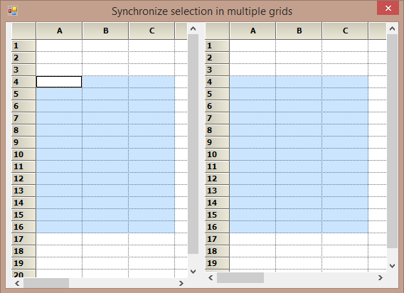 Synchronizing selection in multiple grid