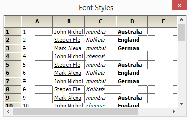Showing different font style in GridControl