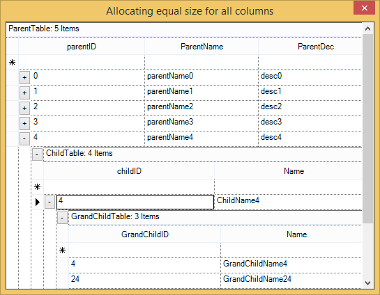 Show equal size allocated to all the columns in all the tables