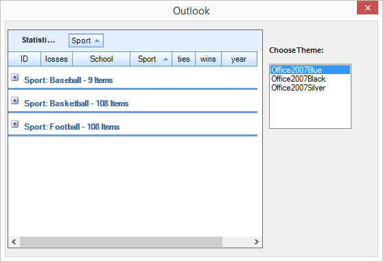 Customize the outlook styles