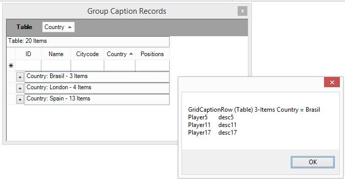 Show group caption records