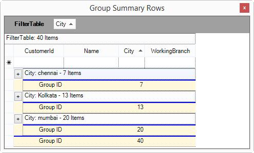 Show the group summary rows