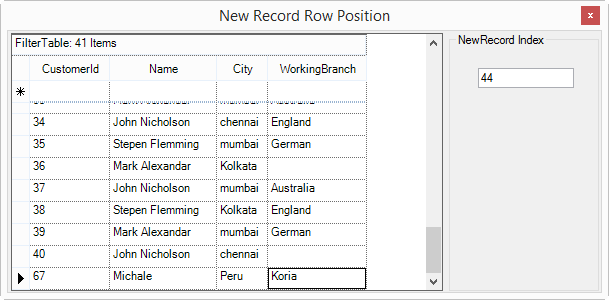 Show newly added record position in GridGroupingControl
