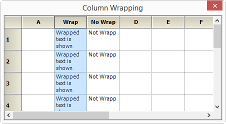 displaying wrapping applied into grid column