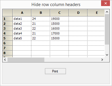 Hide the row column header