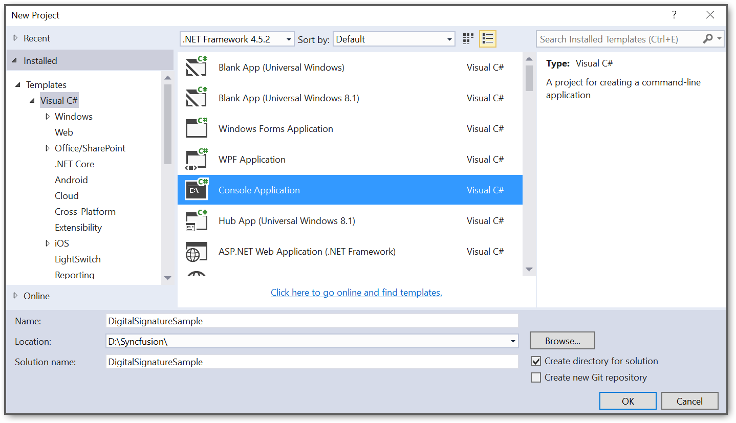 Create a console application project