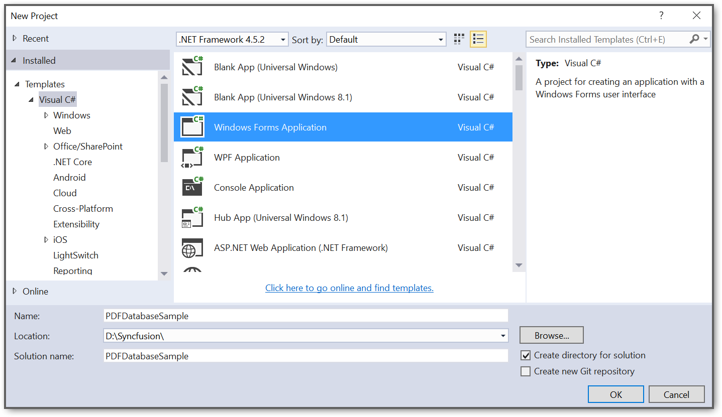 Create a Windows Forms application project