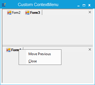 Before adding the context menu item at the horizontal tabgroup