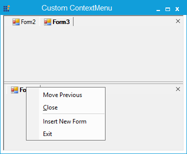 After adding the context menu item at the horizontal tabgroup