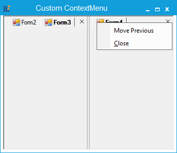 Before adding the context menu item at the vertical tabgroup
