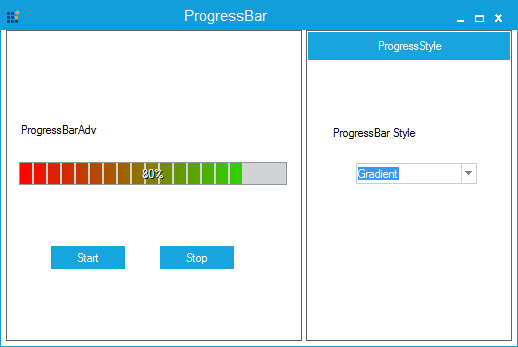 Progressbar specified with gradient color