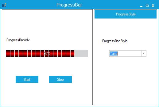 Progressbar specified with tube-like gradient brush