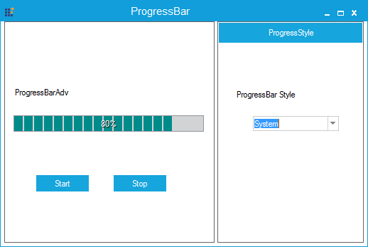 Progressbar specified with system color
