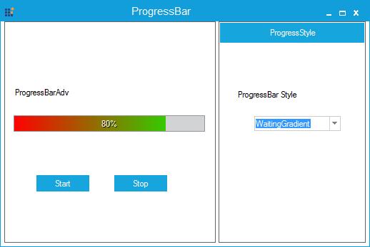 Progressbar specified with waiting gradient line