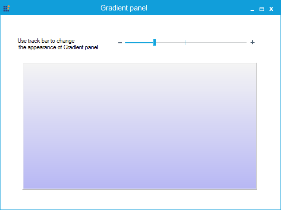 Gradient panel is partially transparent with blue color in vertical gradient style