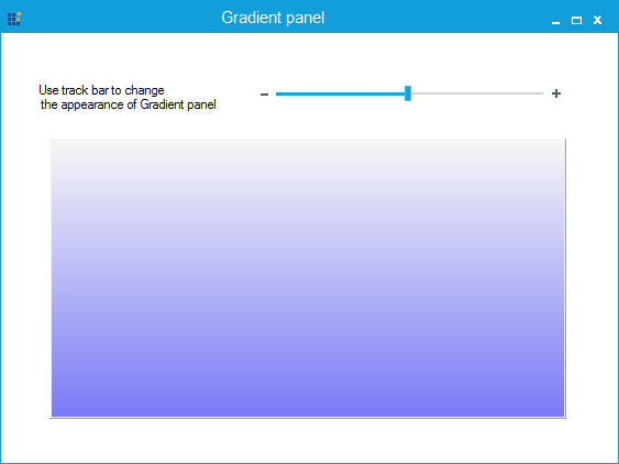 Gradient panel is halfly transparent with blue color in vertical gradient style