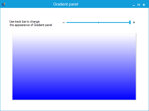 Gradient panel is fully transparent with blue color in vertical gradient style