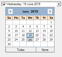Pop-up calendar without trailing dates