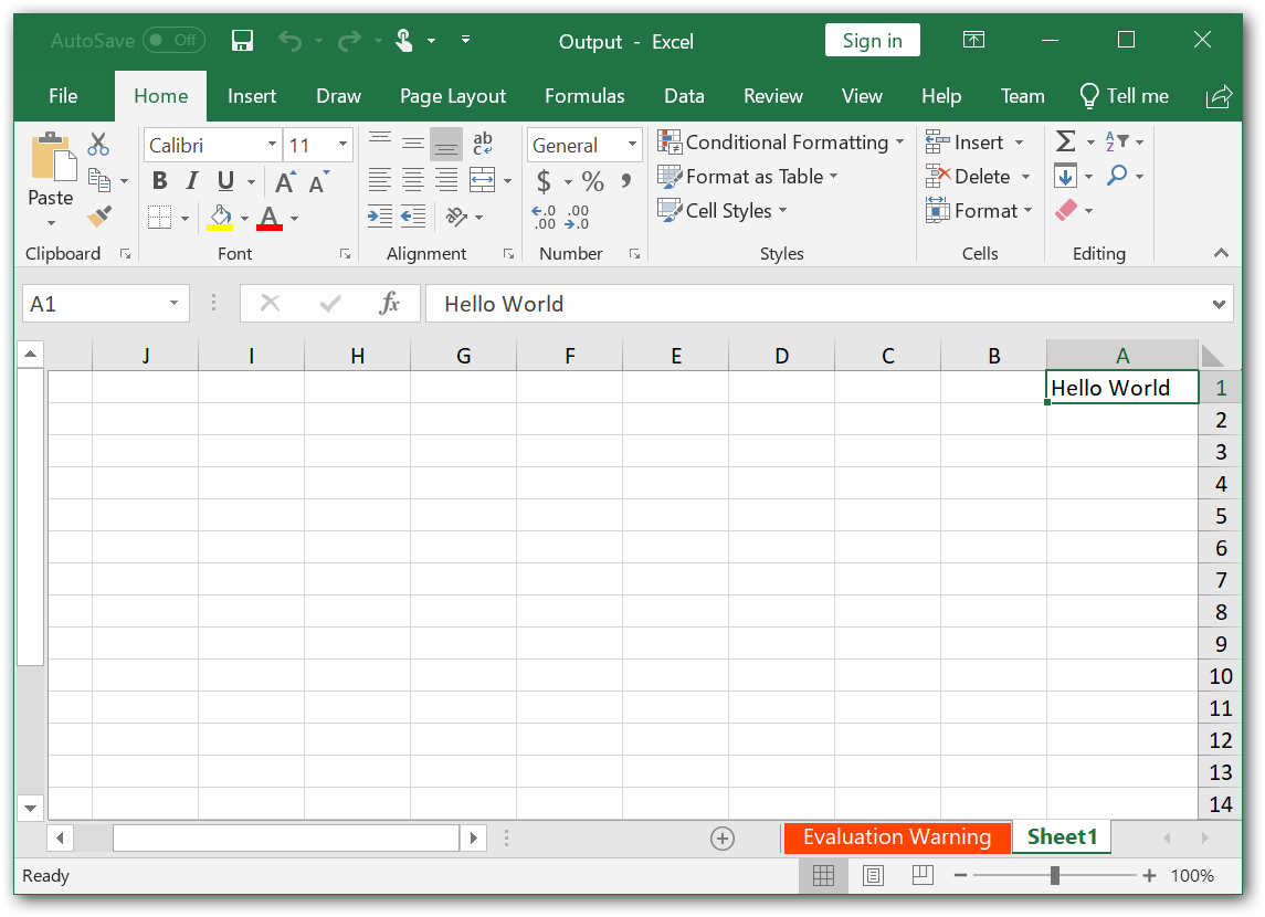 Excel file with Right To Left alignment