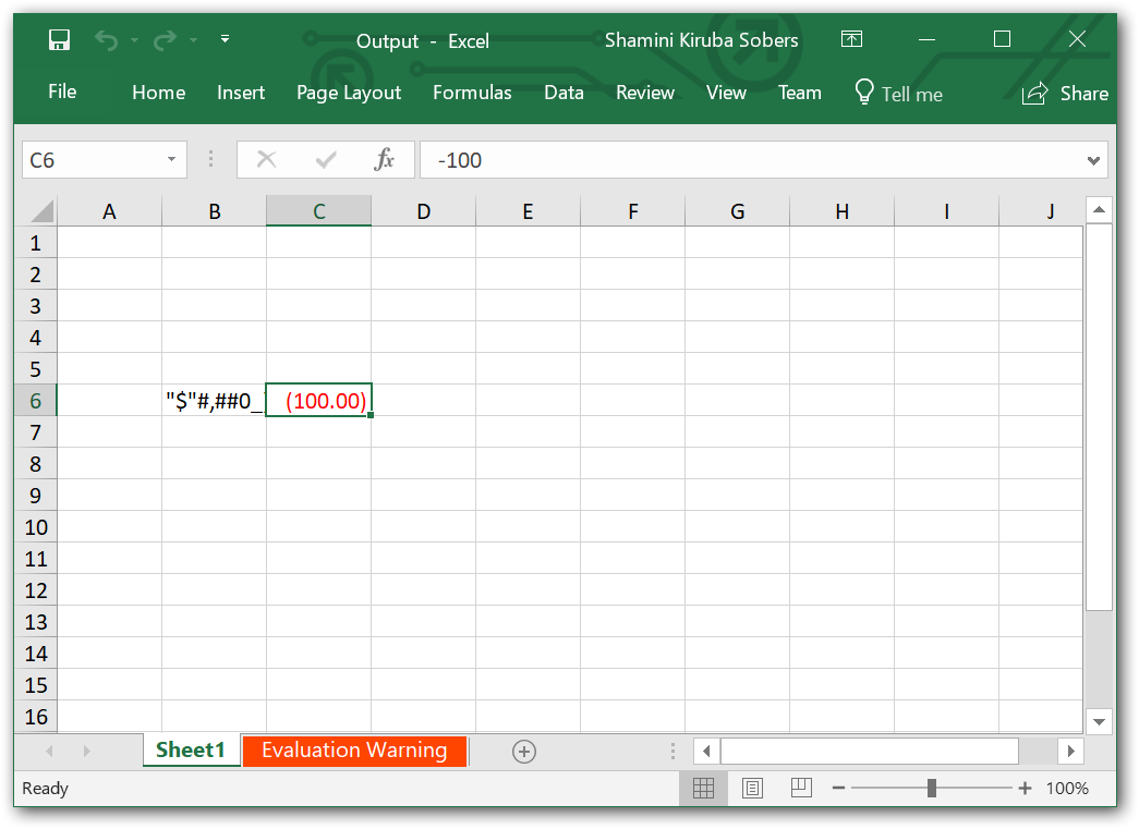 Formatted Excel output